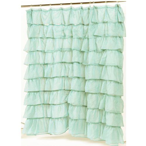 Spa Blue Carmen Ruffled Bouffant Ruffled Fabric Shower