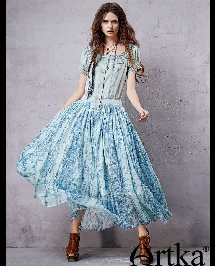 c97a519412 Aliexpress.com   Buy Artka Women s Retro Ethnic Dresses Denim   Cotton  Patchwork Design Romantic Bohemian Style Charming Long Dress LX15155X from  Reliable ...