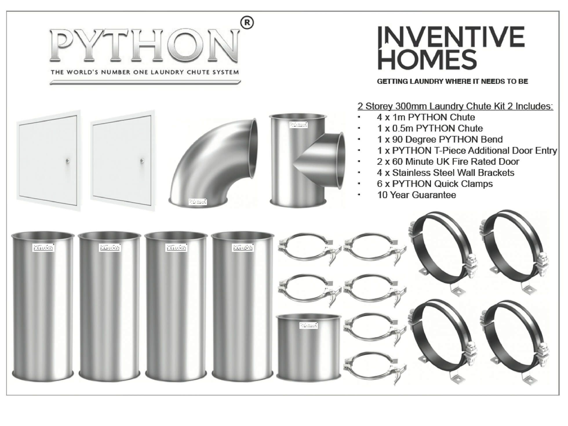 Python Laundry Chute 2 Storey House Kit 2 Inc 2 Entry Points