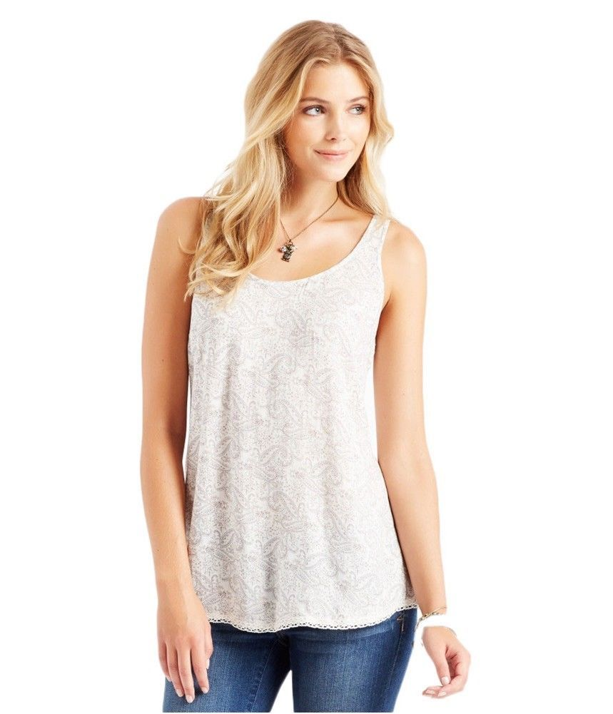 ccb5584a99bfd Aeropostale Womens Paisley Tie Back Tank Top