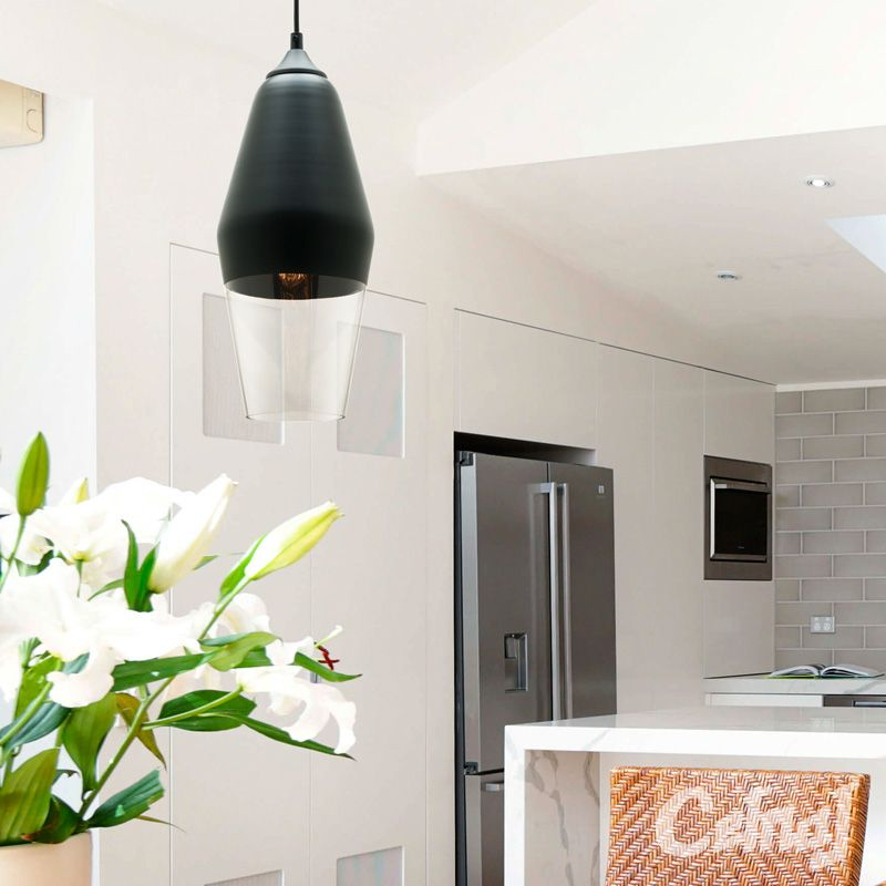 The medi pendant by cougar lighting features a matte black and glass the medi pendant by cougar lighting features a matte black and glass shade with a matching black cord and ceiling canopy lighting pendant contemporary aloadofball Image collections