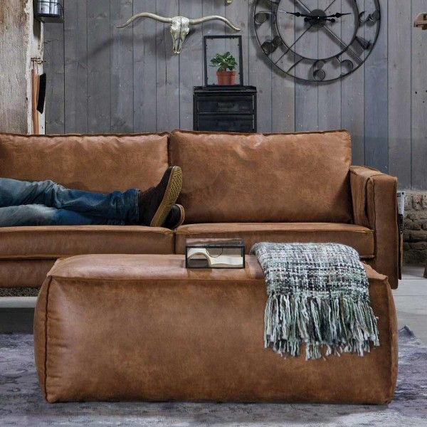 Sofa Hocker Ulada In Cognac Braun Aus Recyceltem Leder Home