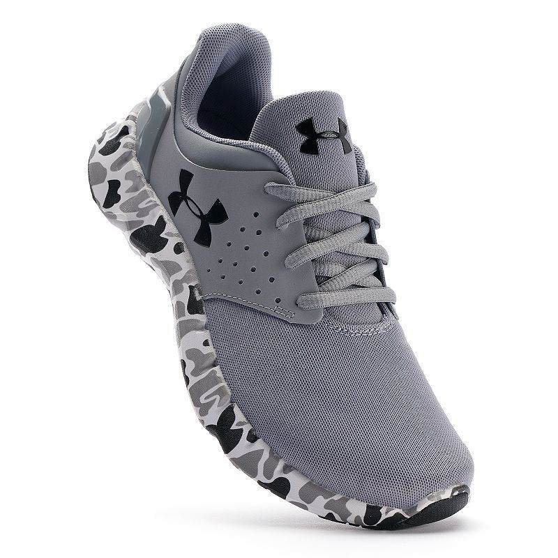 new style 44656 0e53d Under Armour Flow Grade School Boys  Camo Running Shoes, Med Grey