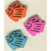 3 Vintage Neon Goofies Fish Buttons Pink Blue Orange Original Card 9/1