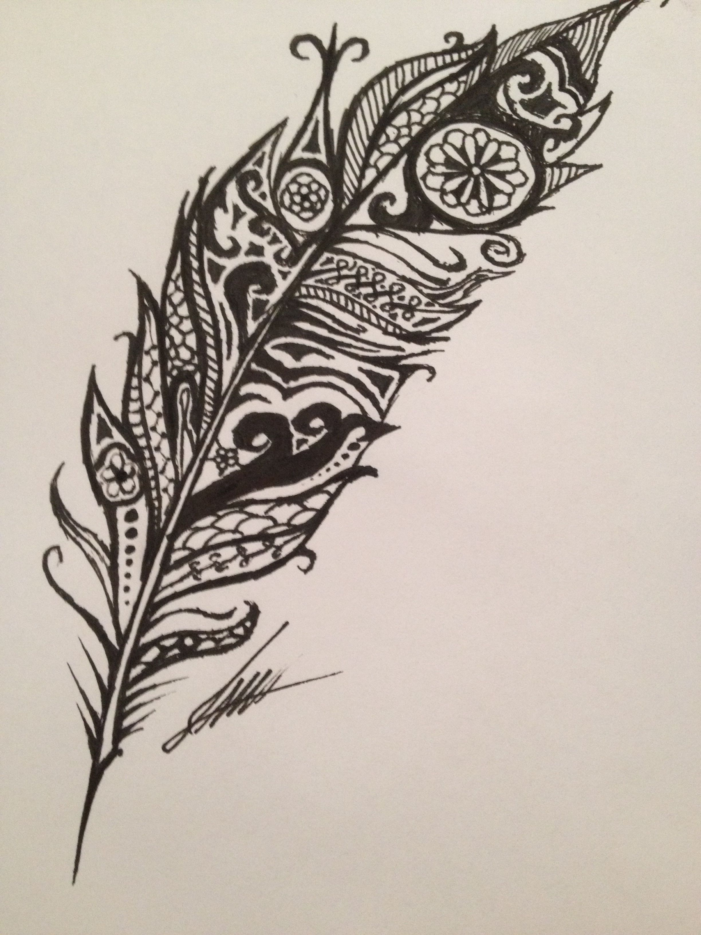 Line Art Feather : Sharpie feather drawing made of doodles random art and drawings