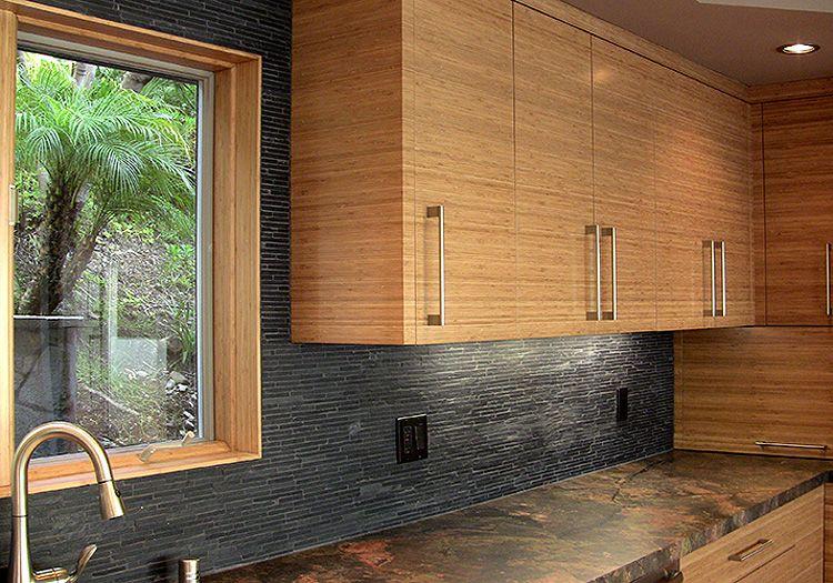 Light Bamboo Cabinets Dark Grey Countertops And Backslash Wall Tile Lagunabamboo Com Bamboo Kitchen Cabinets Kitchen Cabinet Styles Bamboo Cabinets