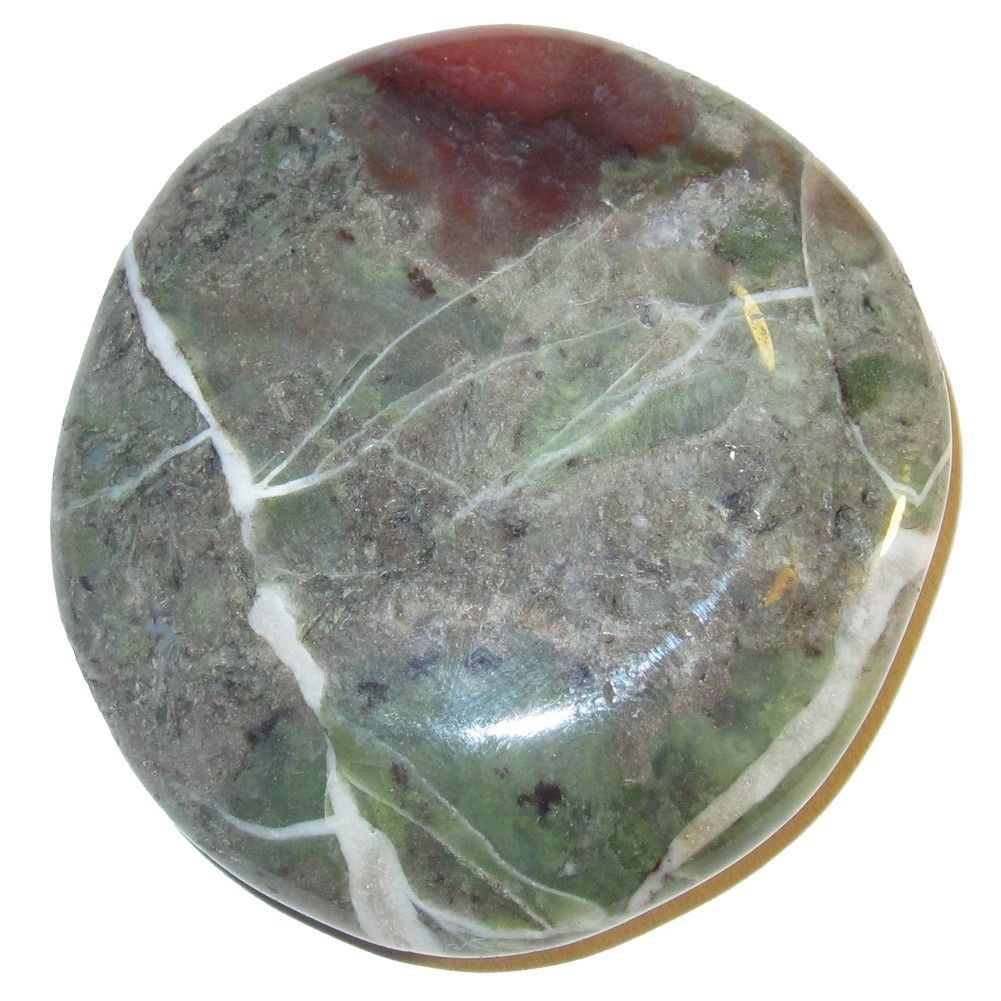 """Agate Polished Stone Moss 50 Rocky Slab Red Green Gray Picture Perfect Healing Crystal 1.8"""" (Gift Box)"""