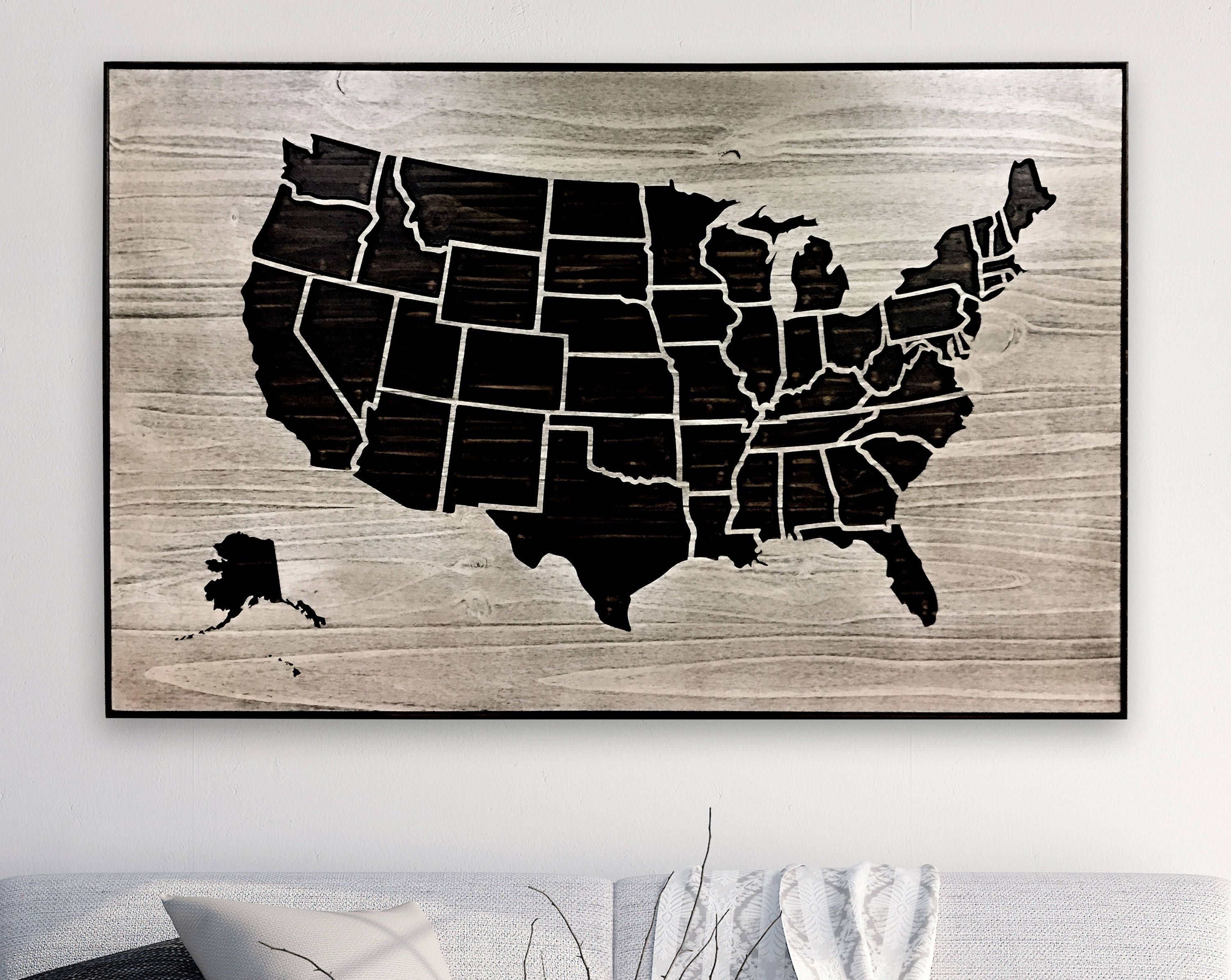US Map Picture American Map Carved 3D Wall Art Map to mark