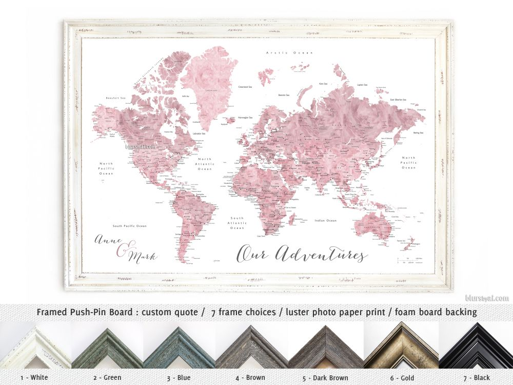 Pink watercolor world map with cities as framed push pinboard