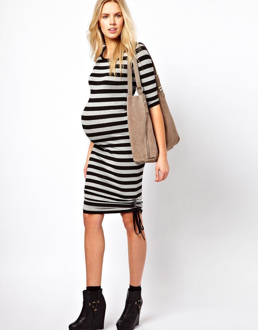 Maternity exclusive black grey bodycon dress stripe ruched sides maternity exclusive black grey bodycon dress stripe ruched sides ombrellifo Choice Image