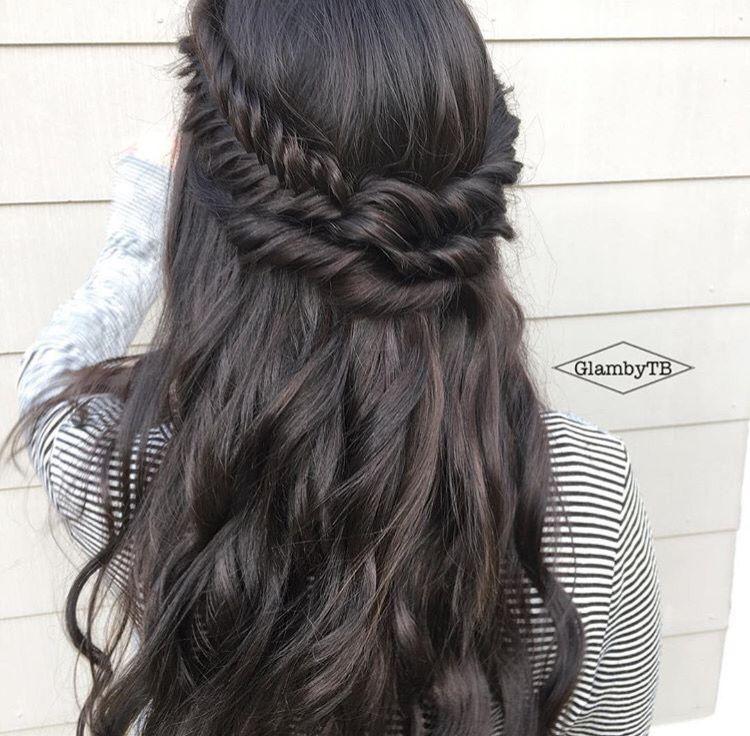 Braided Crown Wedding Hairstyle: Long Dark Hair Braided Crown