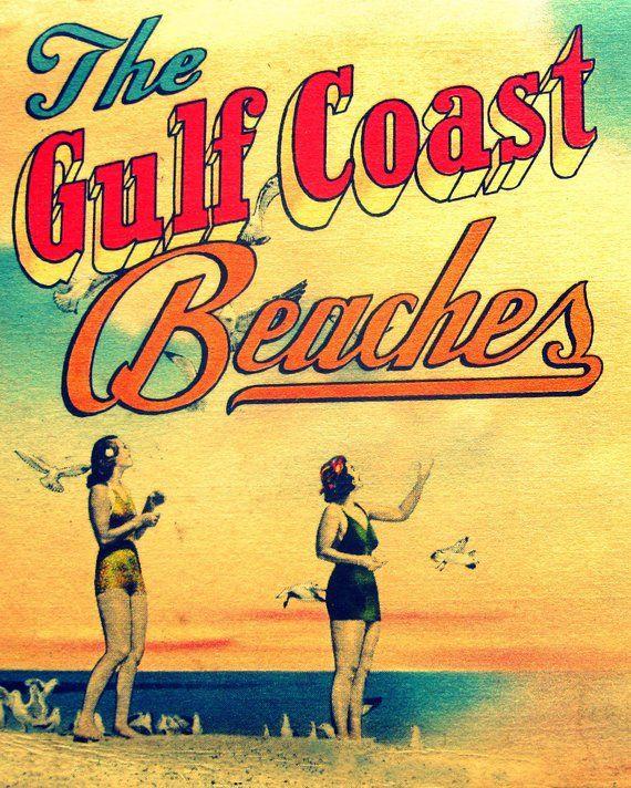 Vintage Beach Art Print Beach Christmas Gifts Beach House Etsy In 2020 Beach House Wall Art Gulf Coast Beaches Vintage Beach Decor
