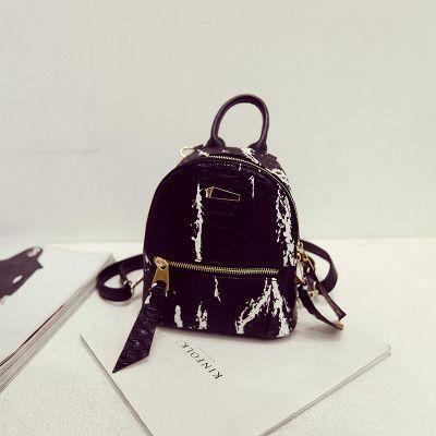 Women Snake skin Bags College Students Fashion Serpentine Mini Backpacks PU Leather Travel Bag For Teenage Girls Lady Back Bag