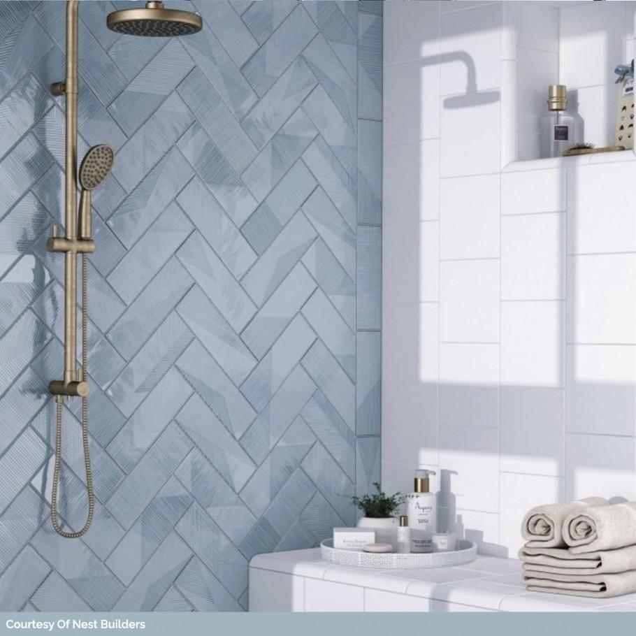 Enigma Ash Blue 2x8 Polished Ceramic Tile In 2020 Herringbone