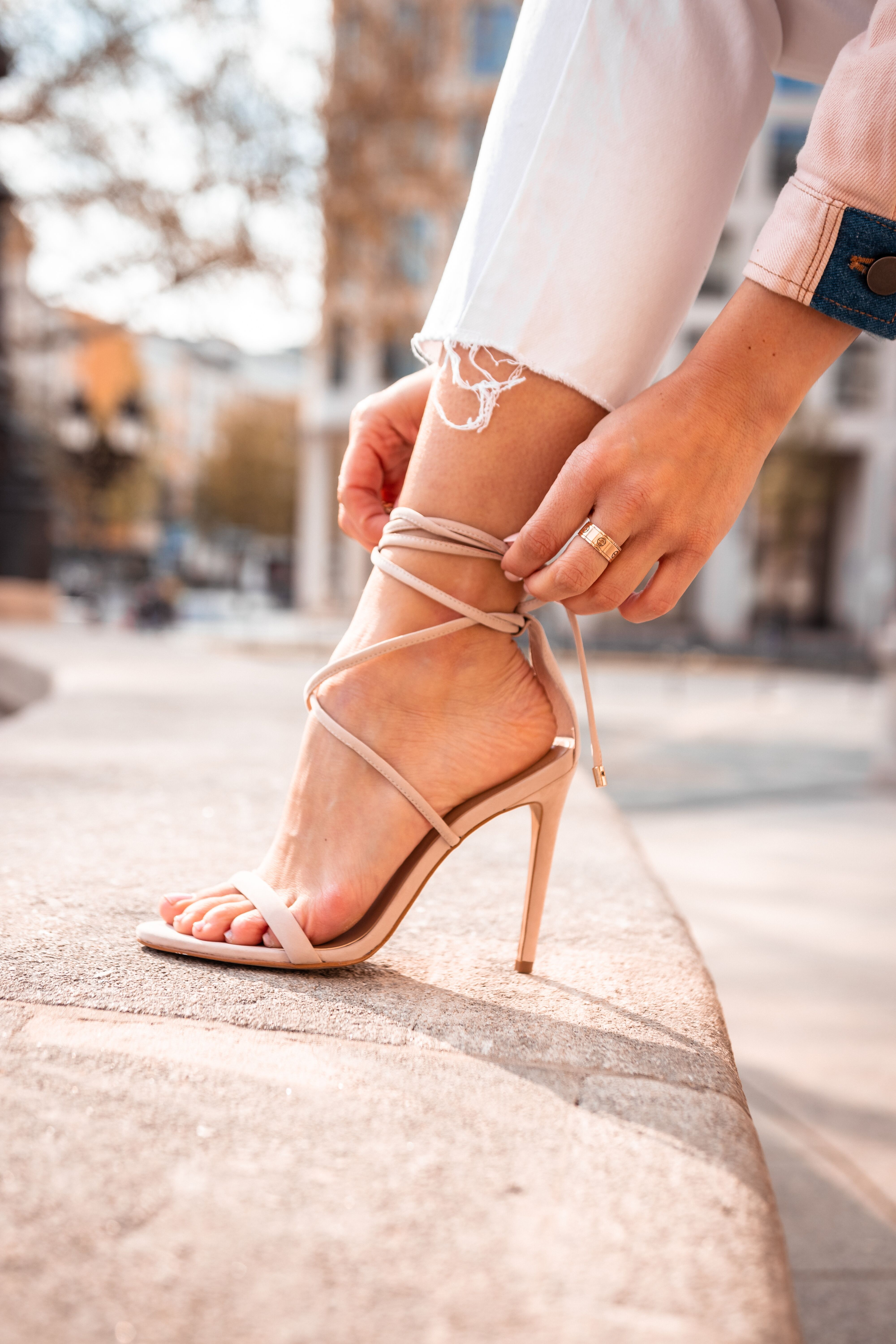 7700db758b6 Show off your sexier side this summer with beautiful nude lace up sandal.  Shop yours
