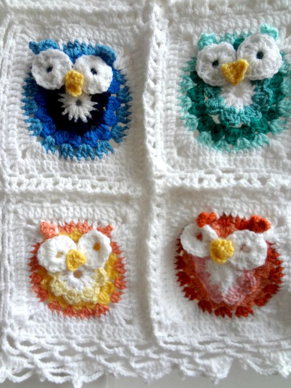 DIGITAL CROCHET pattern Owl Crochet,Baby Blanket,photo tutorial ...