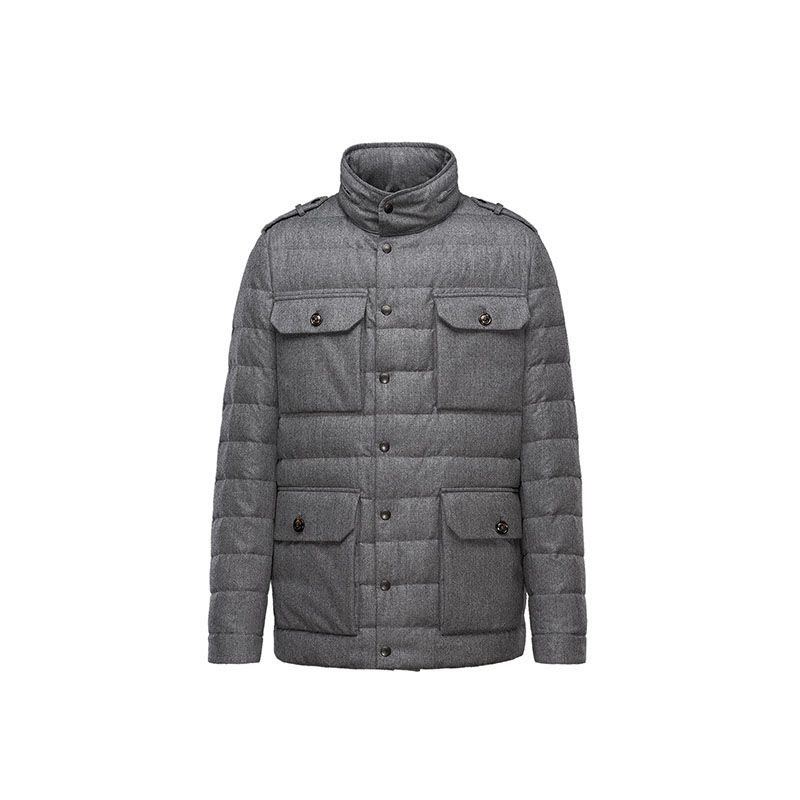 Men Moncler Grey Ampere Warm Padded Wool Jacket