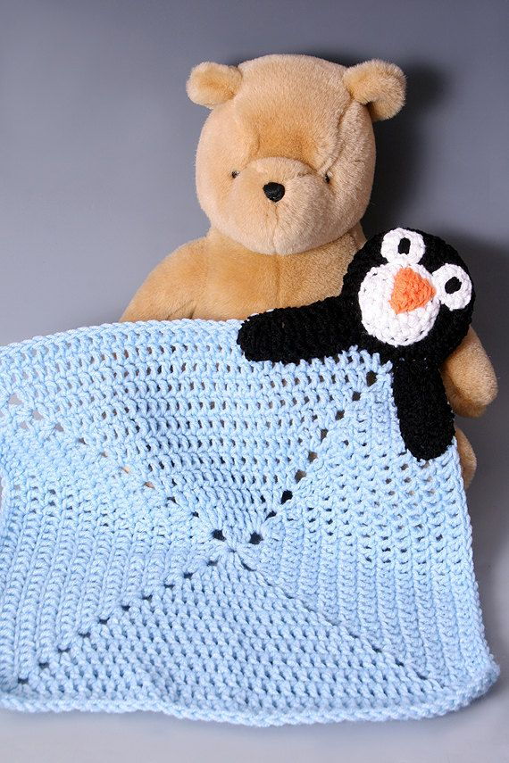 Cute and Cuddly Crochet Baby Security Afghan Blanket - Penguin. $27.00, via Etsy.