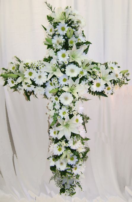 Mixed White Cross Beautiful Funeral Flower Arrangements Funeral Floral Arrangements Funeral Flowers
