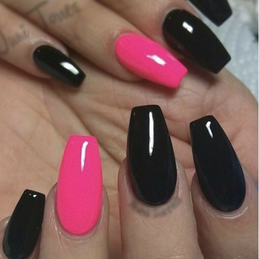 Pink Black Glossy Coffin Nails In 2020 Pink Black Nails Black Acrylic Nails Valentines Nails