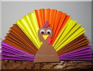 Colorful Origami Paper Turkeys