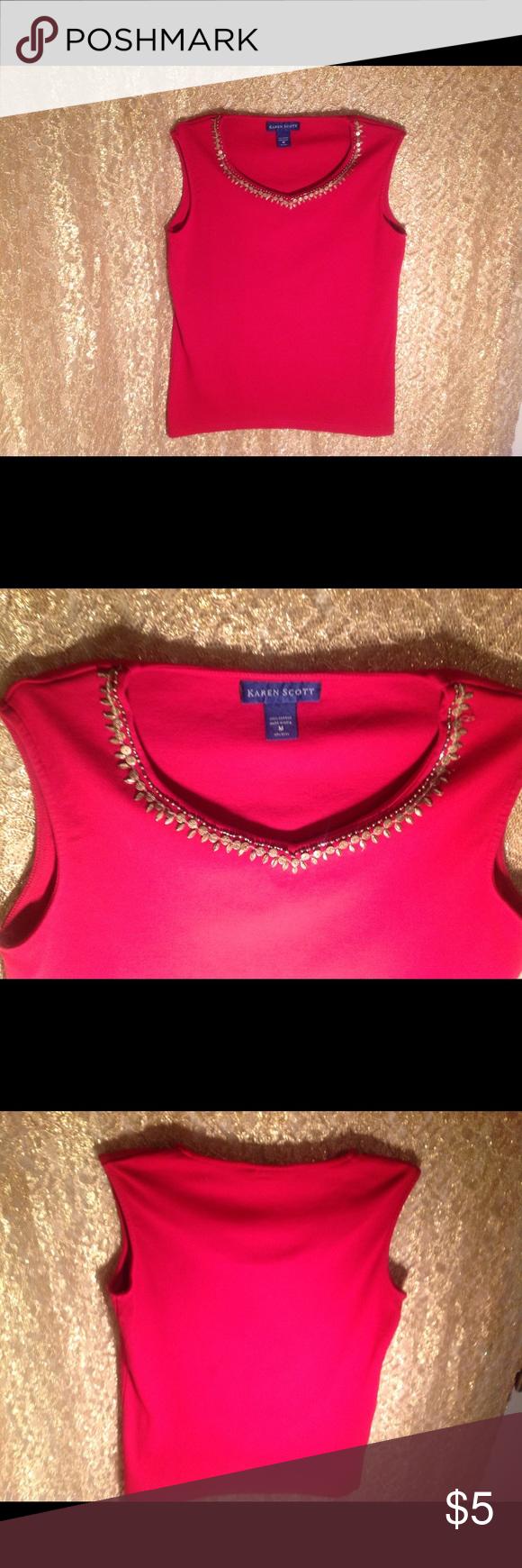 Karen Scott Embellished Beads Sleeveless Top 100 % Cotton * Size Medium * Color Red * Pullover Top * Karen Scott Tops Blouses