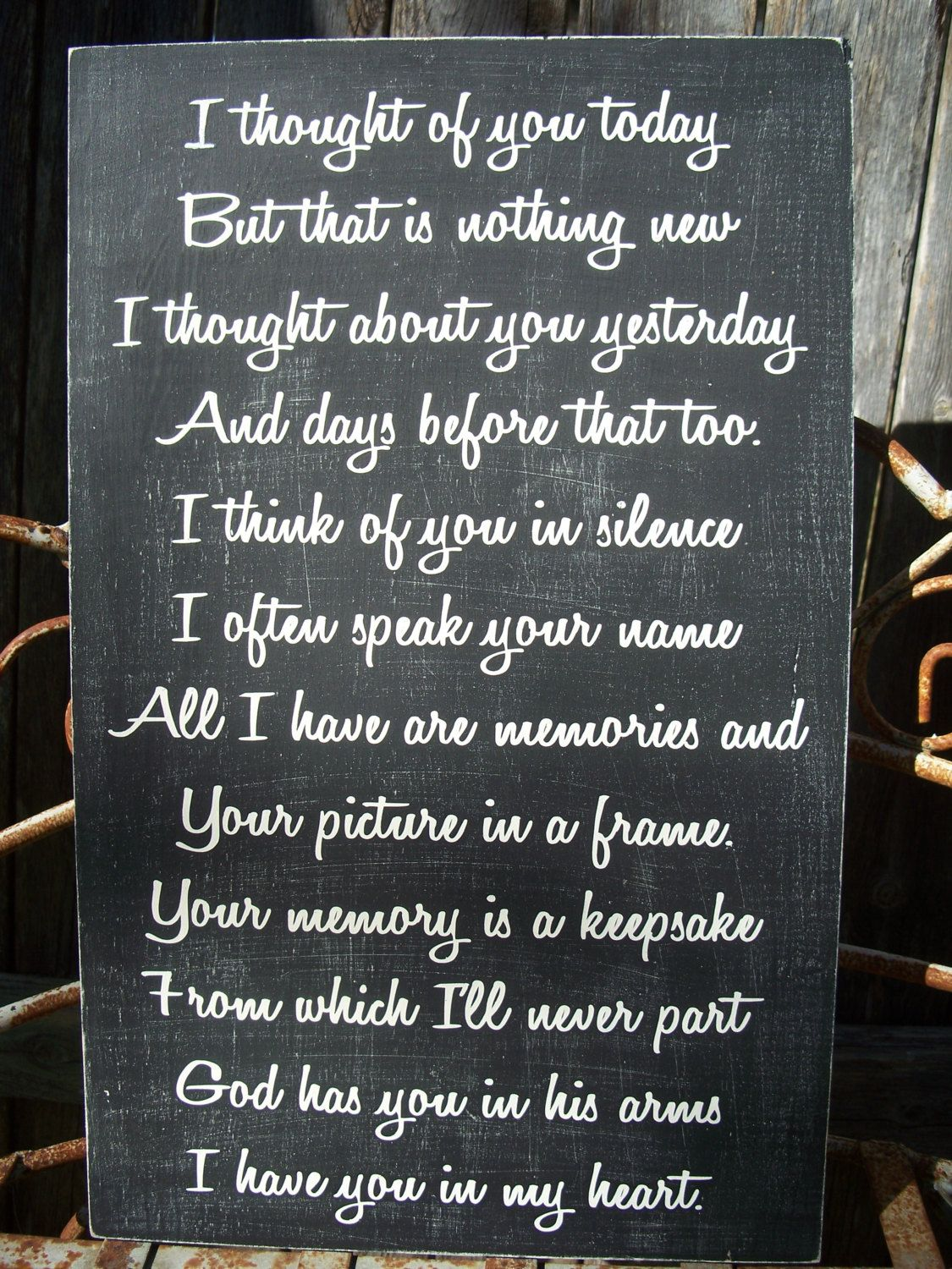 Memory sign wedding memory sign i thought of you today in grief jeuxipadfo Gallery