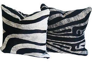 Cowhide Zebra Print Pillows, Pair