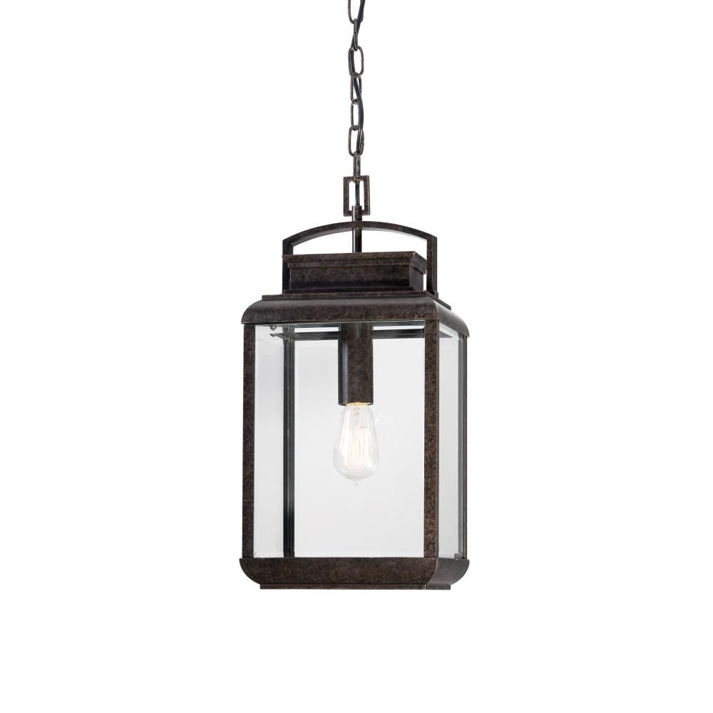 Our Price $289.99 - Quoizel 1-light outdoor hanging lantern in imperial bronze finish with clear beveled glass. Reg. Price 494.00