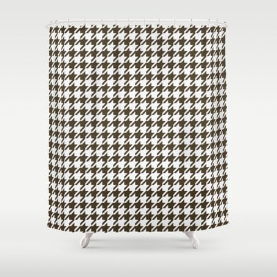 Brown And White Combination Houndstooth Shower Curtain
