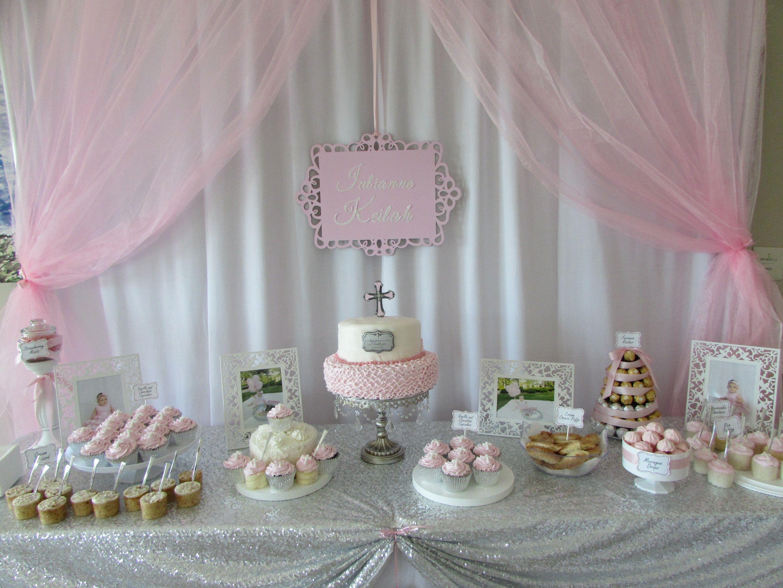 Baby Girl Pink Baptism Dessert Table Cake Table Decoracion Bautizo Bautizo Fiesta Cumpleanos