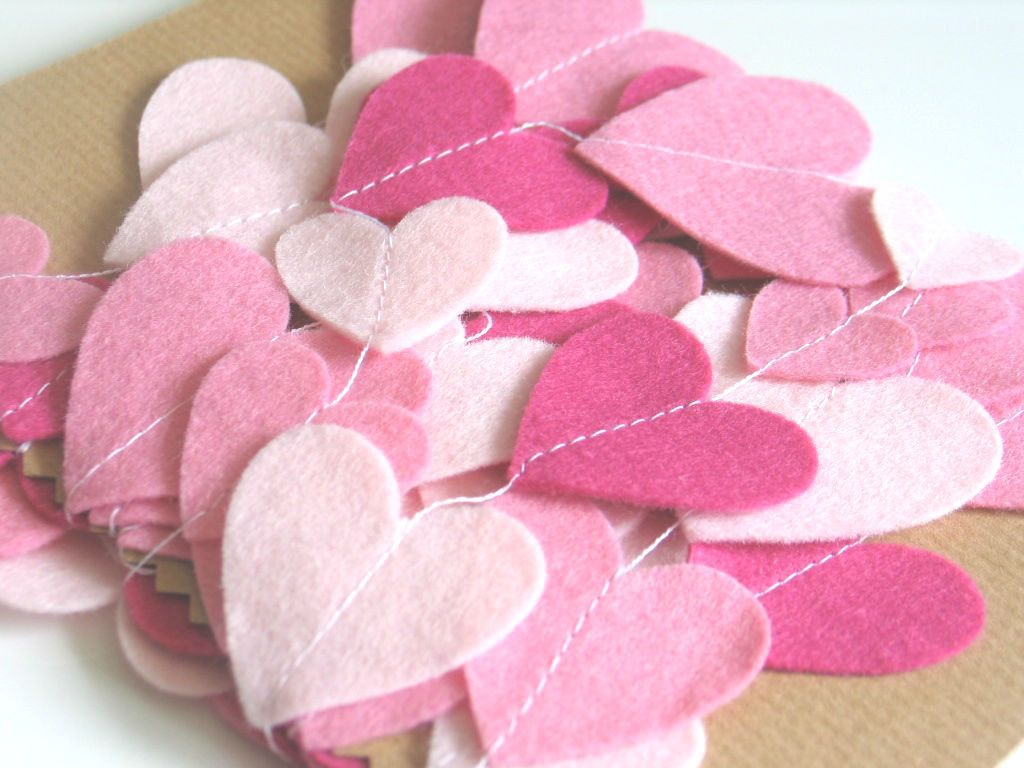 Pink Heart Felt Garland / Felt Streamer / Bedroom Decor / Wedding Decor / Party Decor / Photo Prop -  APPROX 10ft. $18.00, via Etsy.