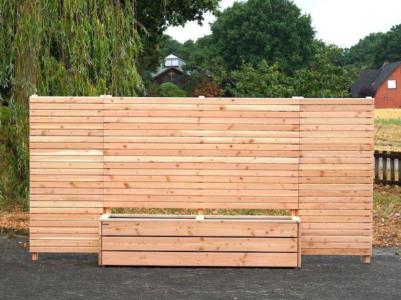 Pflanzkasten Holz Lang mit Sichtschutz nach Maß