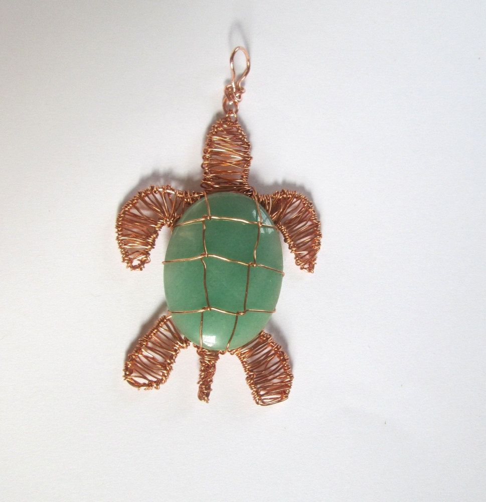 Aventurine Wire Wrapped Turtle Pendant | Wire wrapping, Turtle and Wraps