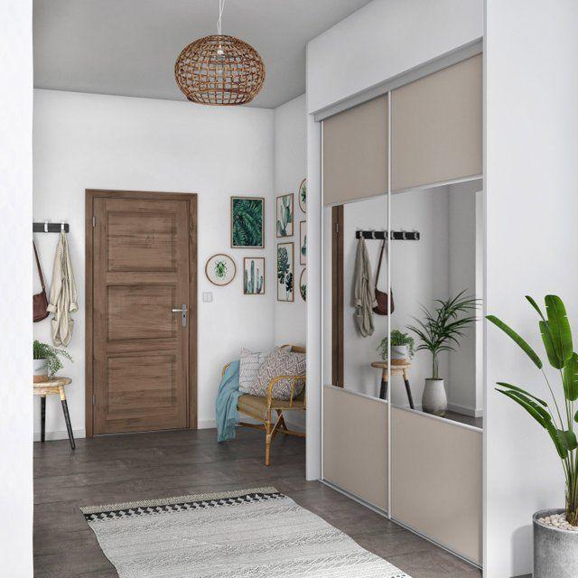 Porte De Placard Coulissante Taupe Miroir L 98 7xh 250cm Placard Coulissant Porte Placard Coulissante Porte Placard