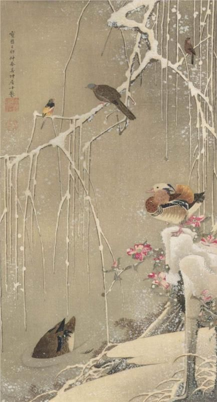Willow Tree and Mandarin Ducks in the Snow - Ito Jakuchu