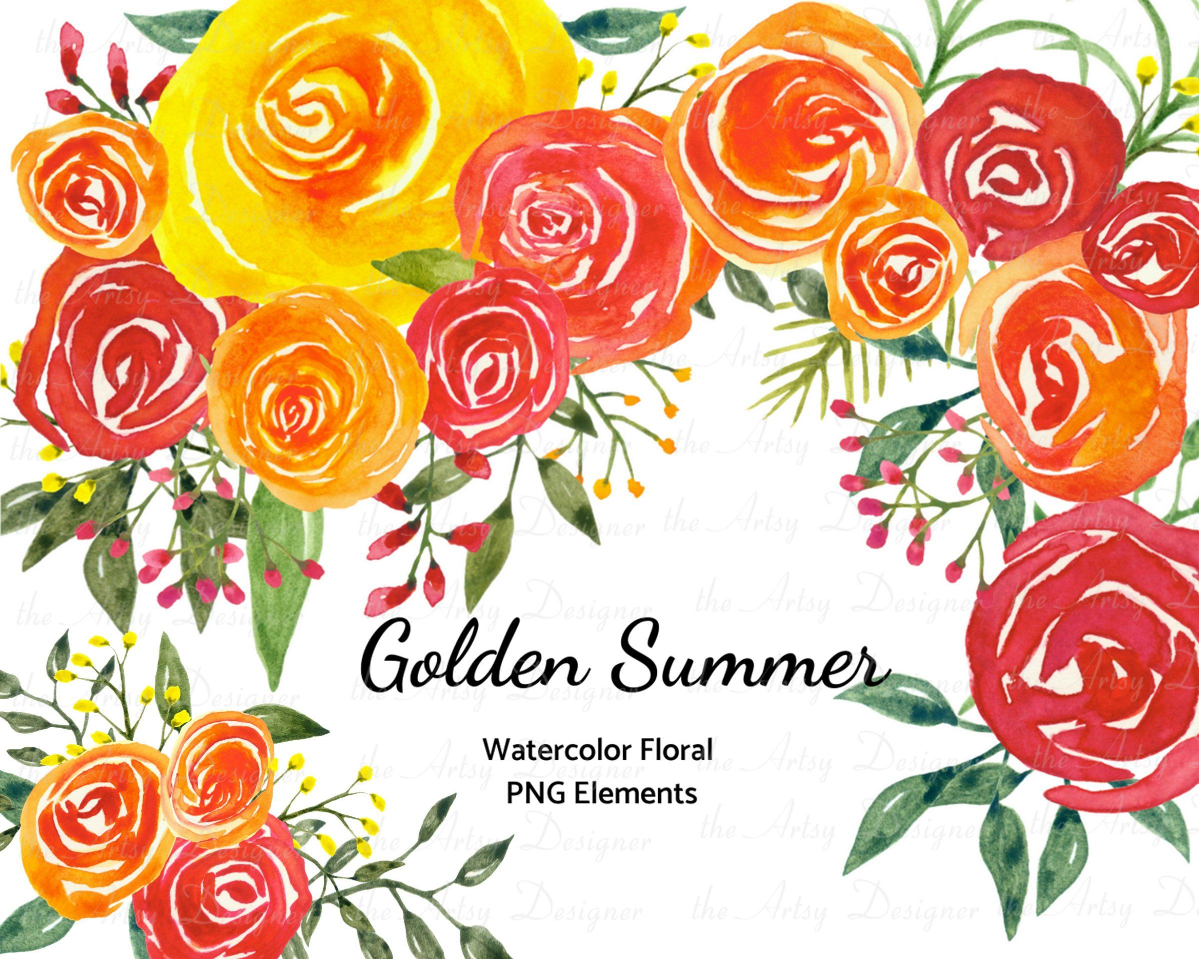 31 Watercolor Flowers Clipart Orange Red Yellow Florals Hand Etsy Watercolor Flower Illustration Hand Painted Flowers Watercolor Flowers