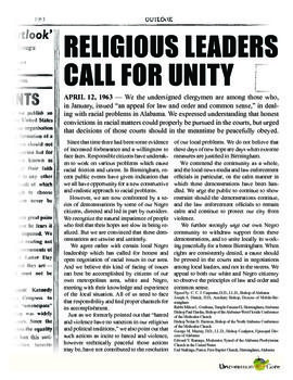 Letter From Birmingham Jail A Call For Unity Discussion