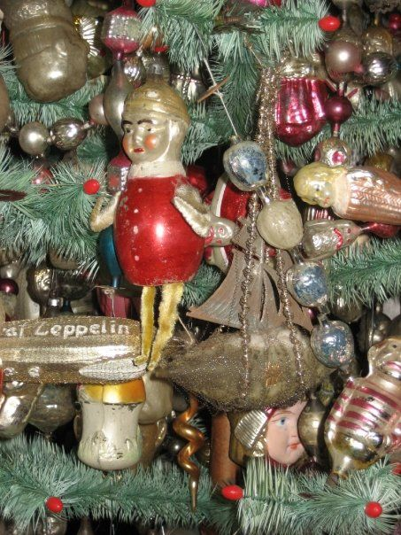 Feather Tree With Antique German N Gl Christmas Ornaments Collection Of Scott Bullock