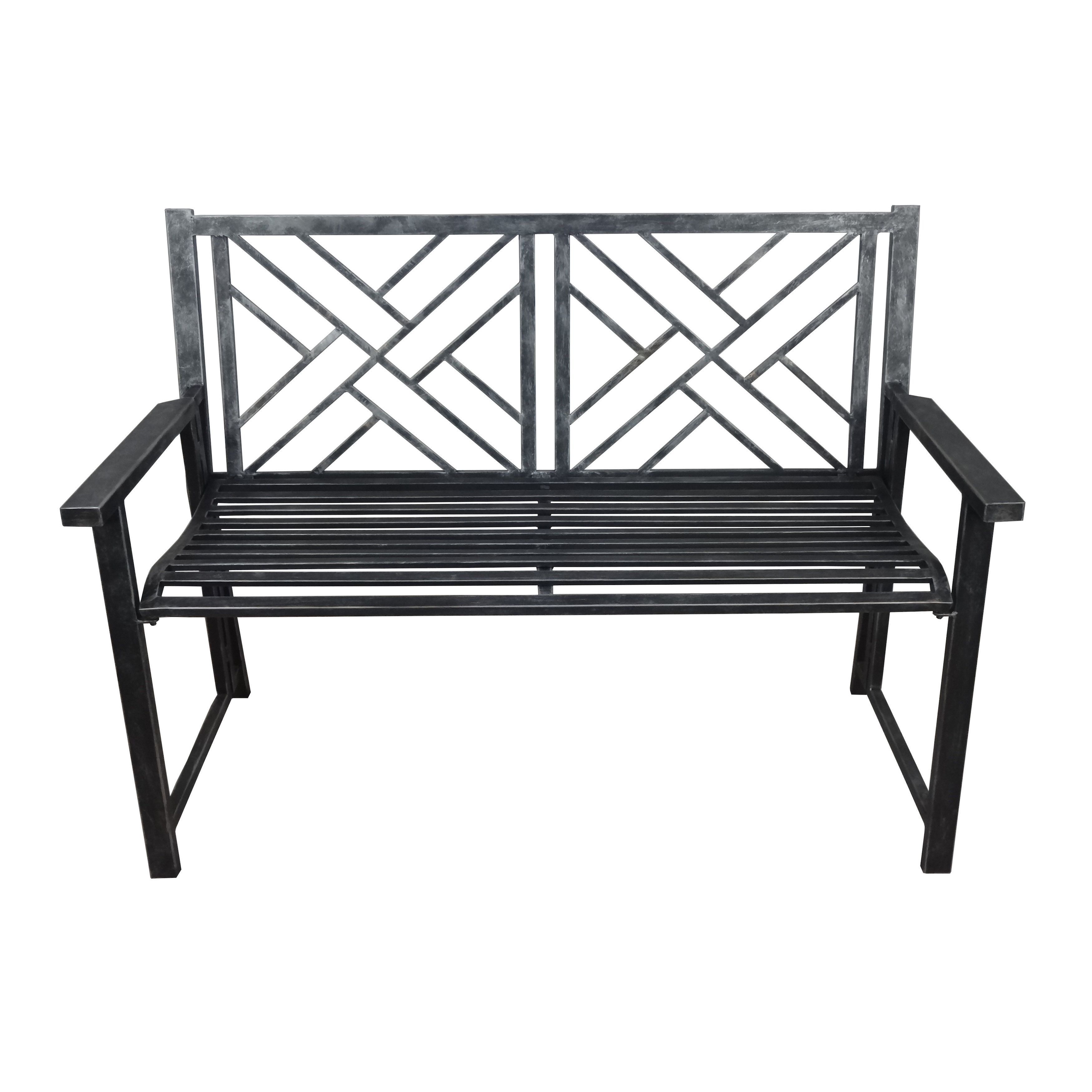 Crawford U0026 Burke Cumberland Black Folding Outdoor Patio Cross Back Bench By  Crawford And Burke