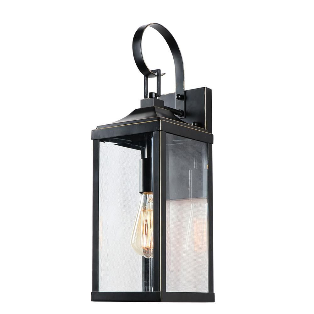 Y Decor 1 Light 19 4 In Outdoor Imperial Black Wall Mount Lantern El180708 Sw The Home Depot Outdoor Wall Lantern Wall Lantern Porch Lighting