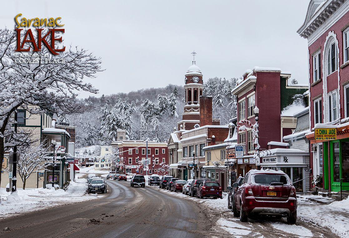 Snow-covered Saranac Lake - the Adirondacks COOLEST Place ...