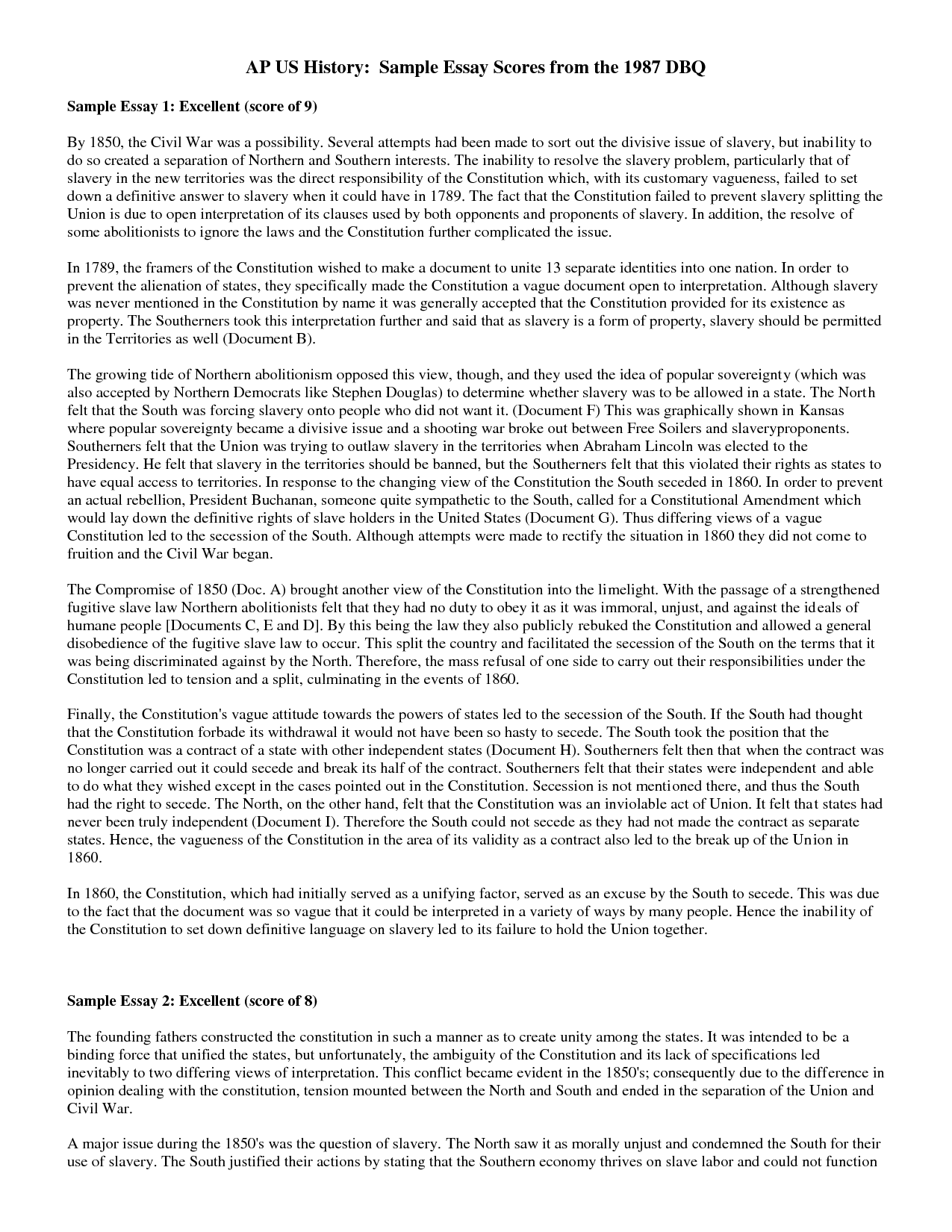 dbq essay outline