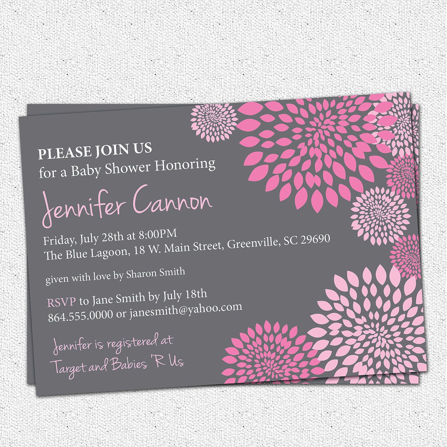 Baby Shower Invitation Printable Girl Hot and Pale Pink and Charcoal ...