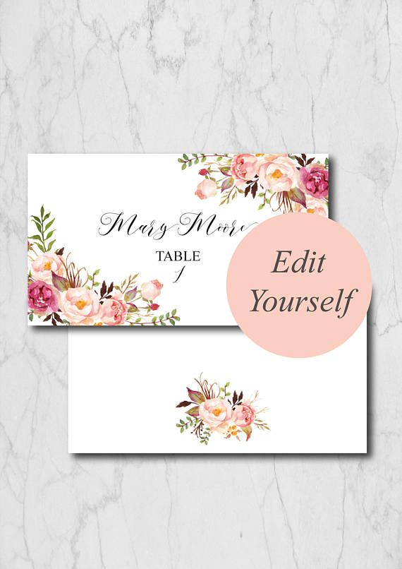 boho chic place card template blush wedding place cards template editable place cards wedding fo
