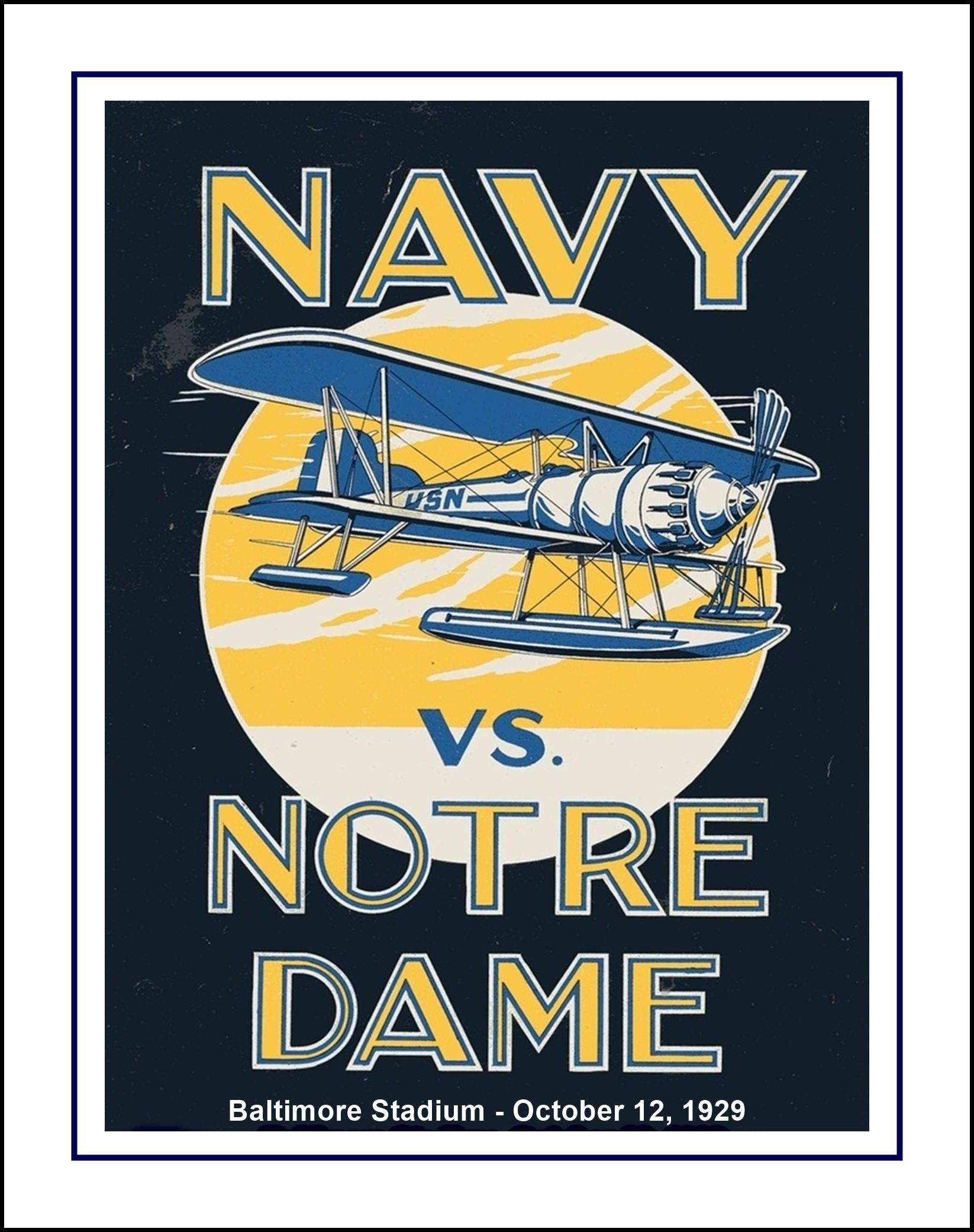 Vintage 1920s Notre Dame, Navy, Football Poster, Retro Military ...