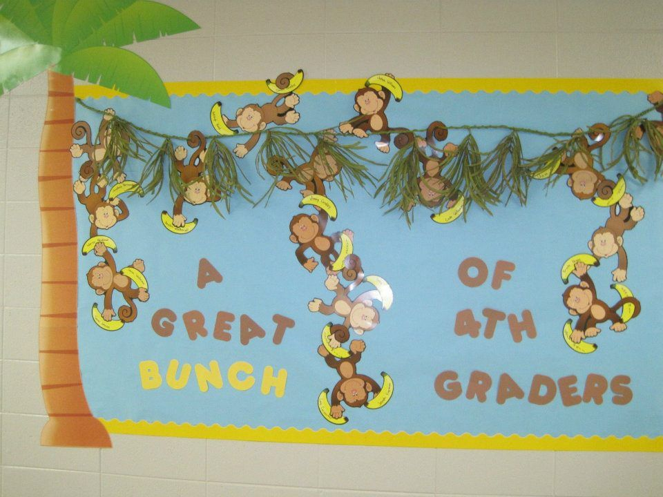 Monkey bulletin board decorations decorating ideas for Back to school board decoration