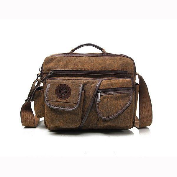 916848d04fc4 Men Canvas Travel Casual Crossbody Bag Mul-ti Pockets Shoulder Bag ...