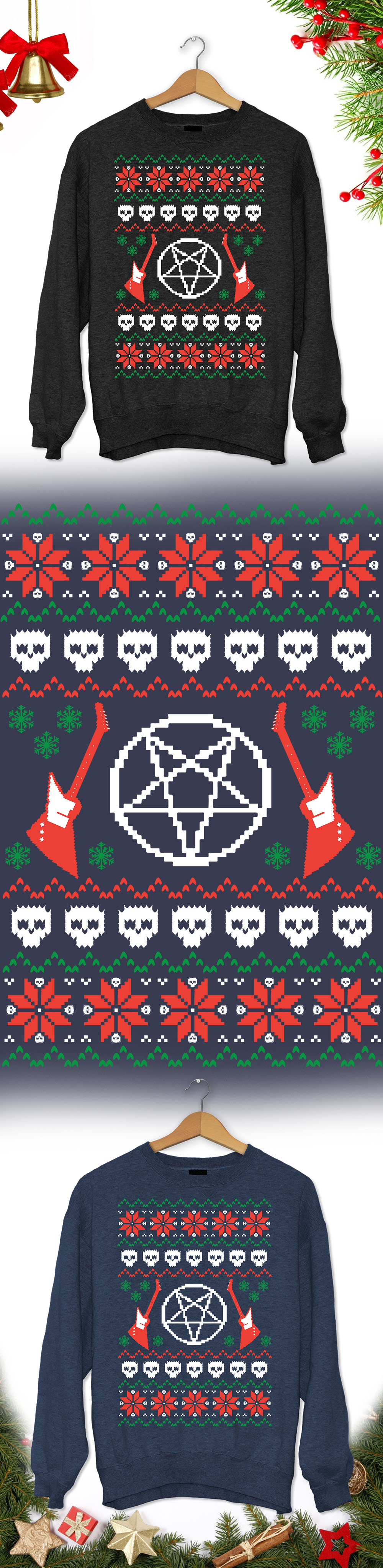 heavy metal christmas sweater limited edition order 2 or more for friendsfamily save on shipping makes a great gift - Heavy Metal Ugly Christmas Sweaters