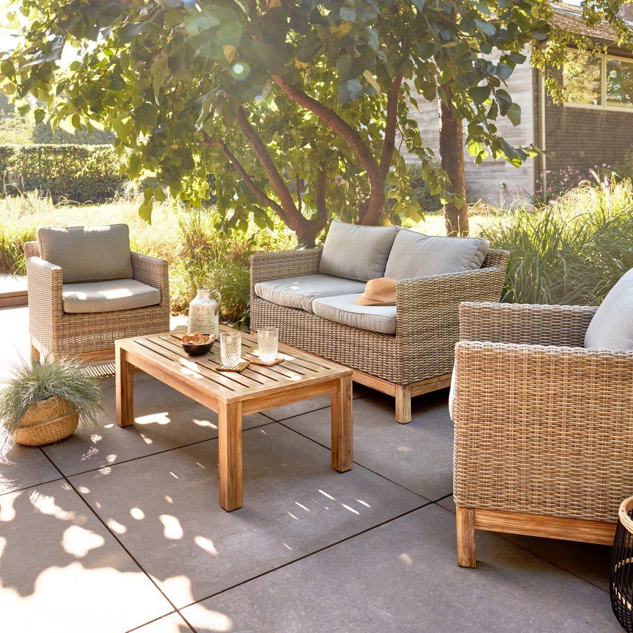 Salon Bas De Jardin Kea Bois Marron 4 Personnes Au Meilleur Prix En Stock Livraison Rapide Dans To En 2020 Meubles De Patio Salon De Jardin Design Mobilier Jardin